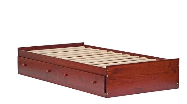 Twin Kansas Mate's Bed W/ Drawers Mahogany