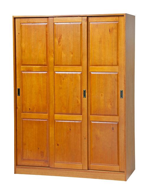 3-Sliding Door Wardrobe -Honey Pine