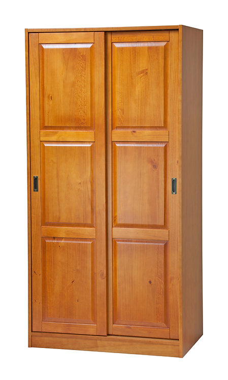 2-Sliding Door Wardrobe -Honey Pine