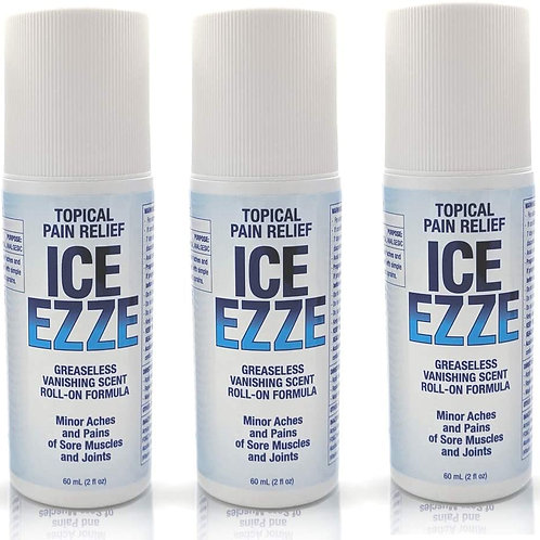 3 Pack ICE EZZE Topical Pain Relief 2 oz Roll On