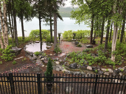 lakefront patio set up for wedding ceremony