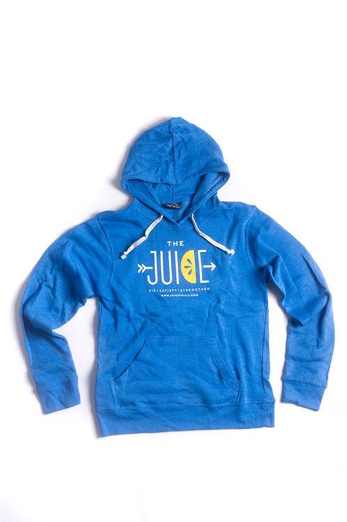 bright blue hoodie