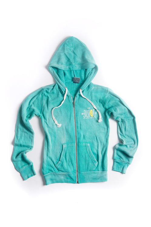 turquoise zip up hoodie