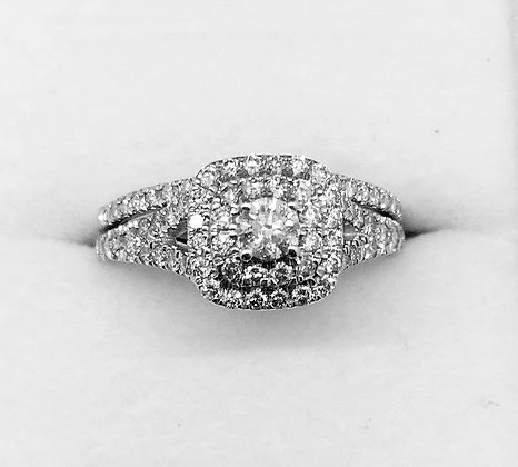 9ct White Gold Diamond Ring Set