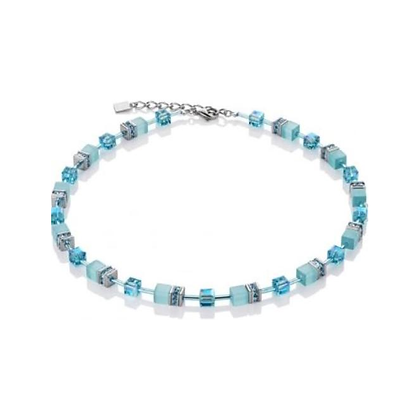 Geo Cube Frosted Skies Blue Necklace