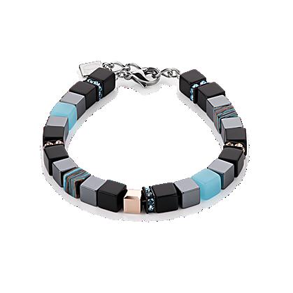 Aqua, Opal and Black Geo Cube Bracelet