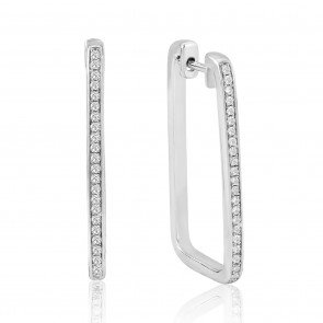 Waterford Silver Rectangle Hoops