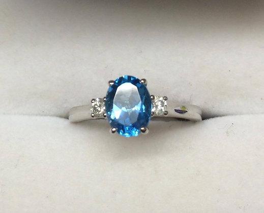 9ct White Gold Topaz Engagement Ring