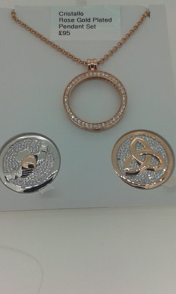 Cristano Rose Gold Plated Pendant Set