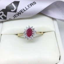 9ct Yellow Gold Ruby And Cubic Zirconia Cluster Ring