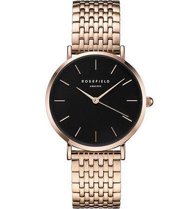 Upper East Rose Gold Black Rosefield Watch