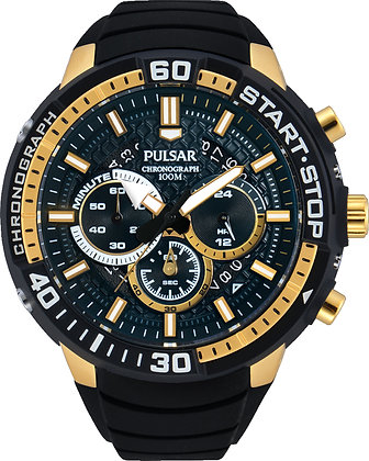 Black Pulsar Sports Watch With Gold Detail