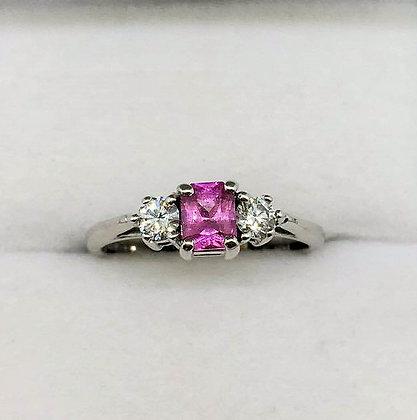 18ct White Gold Pink Sapphire Diamond