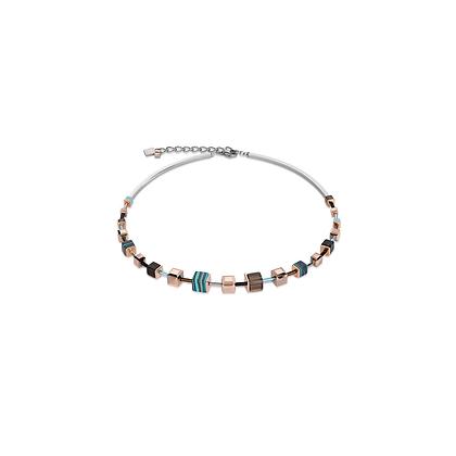 Geo Cube Swarovski & Malachite necklace