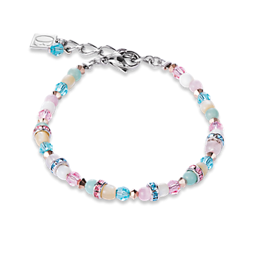 Bracelet Romantic Gemstones,mother-of-pearl & swarovski crystals rose-mint green