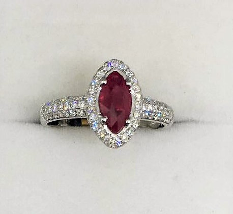 18ct White Gold Diamond Ruby Ring