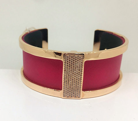 Les Georgettes Rose Gold CZ with Fuschia Strap Med