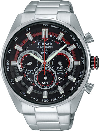 Silver Pulsar Watch With Red Detail From WRC