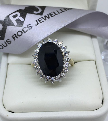 9ct Yellow Gold Black Spinel Large Oval Cluster CZ Ring