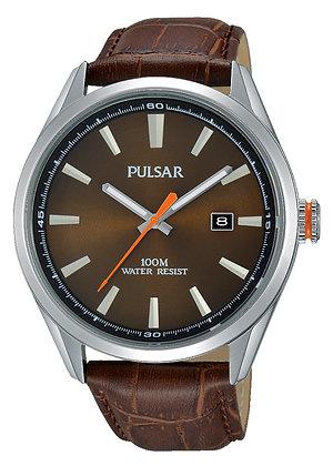 Brown Leather Alligator Pattern Pulsar Watch