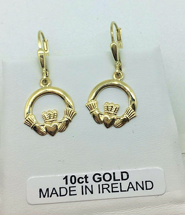 10ct Gold Claddagh Earrings