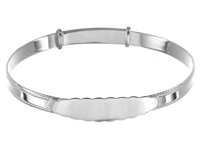 Sterling Silver Beaded Edge Baby Bangle With Engravable Plate