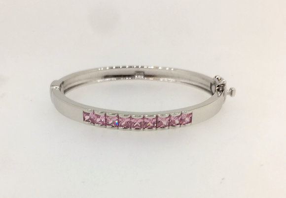 Sterling Silver Baby Bangle with Pink CZ Stones