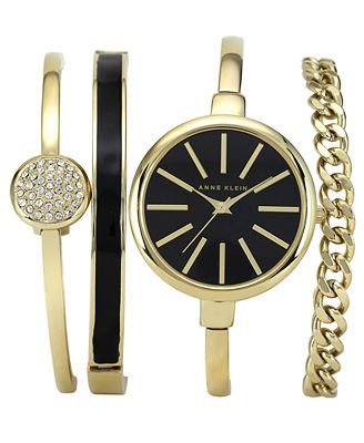 Anne Klein Gold Toned Watch and Bracelets Set