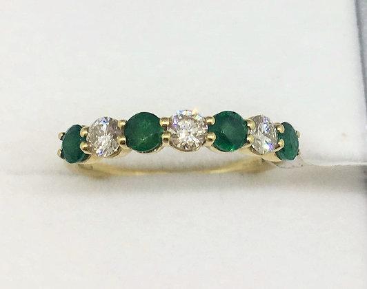 9ct Yellow Gold Emerald Diamond Ring