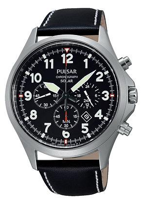 Black Leather Pulsar Watch