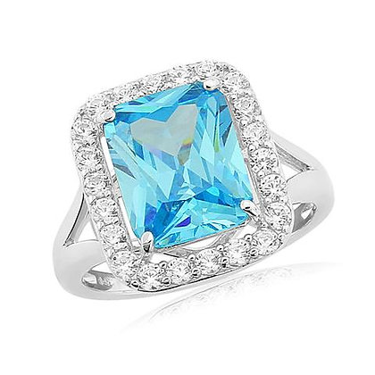 WaterFord Crytsal Sterling Silver Blue Topaz Ring