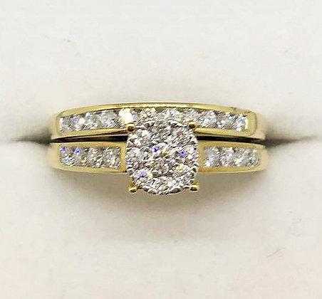 9ct Yellow Gold Diamond Wedding and Engagement Set