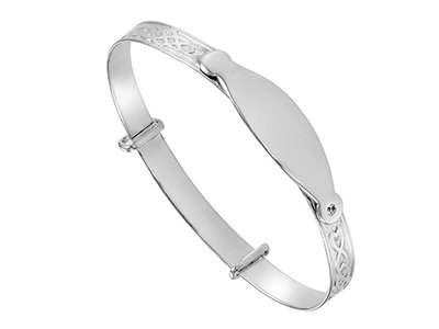 Sterling Silver Celtic Embossed CZ Bangle With Engravable Plate