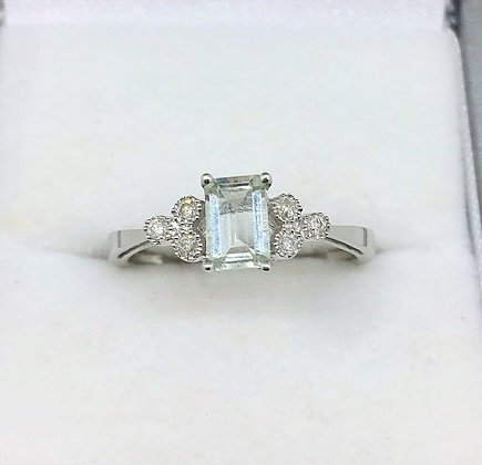 9ct White Gold Green Amethyst and Diamond Ring