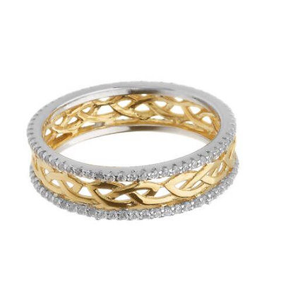 Celtic Sterling Silver Gold Plated Ring
