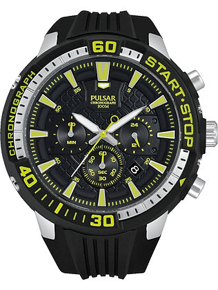 Black Pulsar Sports Watch With Green Detail