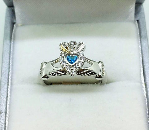 Claddagh Ring with Aqua Coloured Stone