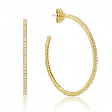 WaterFord Gold Plated Hoops 40mm Cz