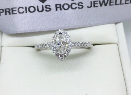 18ct White Gold Marquise Cut Diamond Ring 0.84ct Diamonds