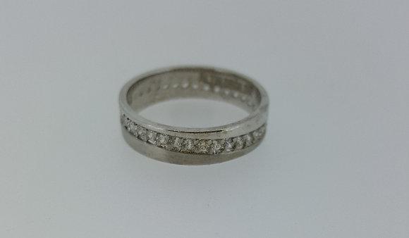 14ct White Gold Wedding Band with Diamonds