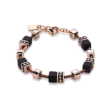 Black and Rose Gold Geo Cube Bracelet
