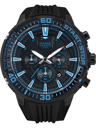 Black Pulsar Sports Watch With Blue Detail