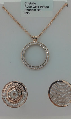 Cristallo Rose Gold Plated Pendant Set