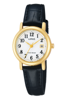 Black Leather Strap and Gold Face Lorus Watch