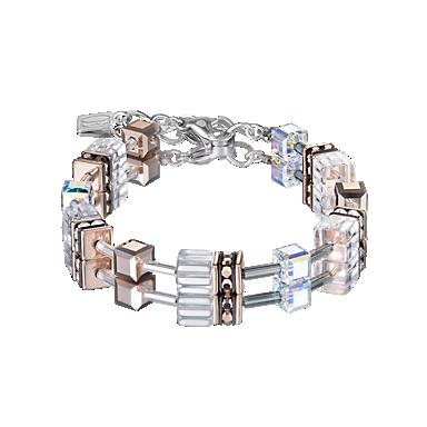 GeoCUBE Bracelet crystal-rosegold