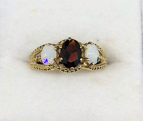 9ct Yellow Gold Garnet and Opal Ring