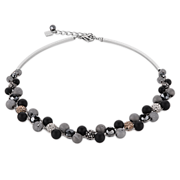 Necklace Multirow Crystals Pave & agate & onyx