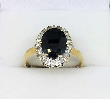 9ct Yellow Gold Black Sapphire and Diamond Ring