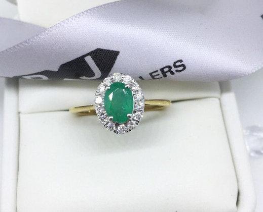 9ct Yellow Gold Emerald Halo Diamond Ring 0.25ct Diamonds