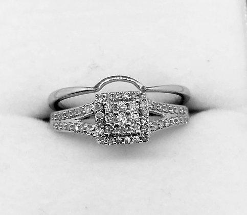 9ct White Gold Diamond Ring Set